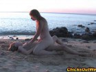 Lovely amateur lesbians having sex on the beach