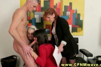Sexy CFNM office MILFs taking turns on swallowing a hard cock