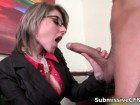 Two dirty office babes milking cocks