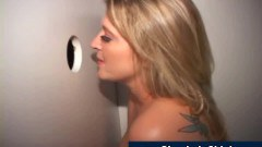 Mature blonde mom fucked through gloryhole