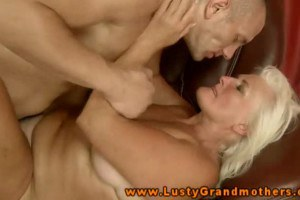 Hot blonde granny riding on hard cock