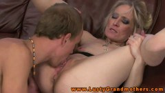 Lusty blonde granny in oral sex