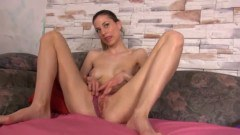 Horny brunette toyign with a gyno tool
