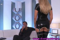 Sexy latex blonde has a guy teased