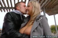 Busty blonde flashing and sucking in public