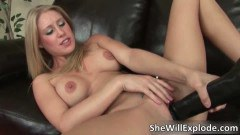 Incredible mature blonde handling a huge black dildo
