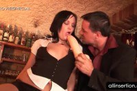 Sexy waitress has her pussy toyed