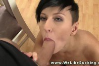 Gorgeous brunette amateur gets a mouthful of cum