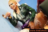 Incredible blonde diva going for a wet and messy bukkake