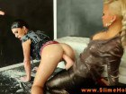 Glam ladies in messy toying action