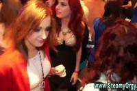 Horny CFNM divas making the best of strippers' meat poles
