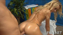 Dirty blonde babe fucked by her masseur