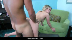 Sexy blonde teen teased into hard fuck