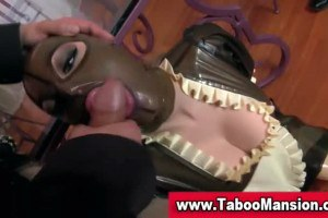 Latex wearing BDSM doll fucked in a threesome