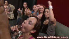 Cock loving bachelorettes giving out blowjobs at a party