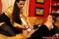 Two satin clothed babes having orgasms with toys