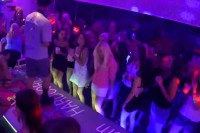 Gorgeous CFNM babes sucking on strippers' cocks at a party
