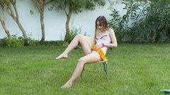 Sexy teen Ivana playing with her cunt outdoors