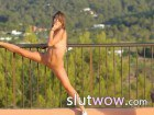 Killer blonde teen stripping on the balcony