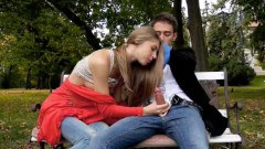 Sweet Anjelica  gets nailed in a public park