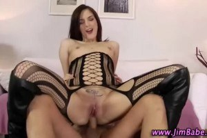 Sexy brunette in boots has an old perv deep in her ass