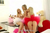 Three unique blondes exposing ass