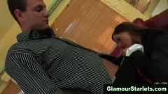 Glam babe gets down to suck on a huge cock