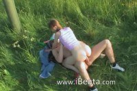 Naughty teen having anal sex in nature