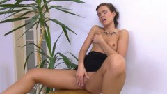 Sexy brunette chick toying