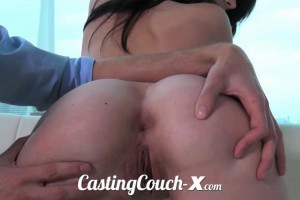 Skinny brunette beauty in porn casting