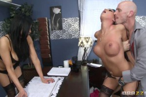 Two office sluts fucking their way to the top