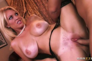 Busty glam blonde nailed