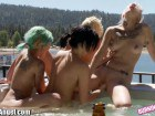 Four naughty emo lesbians having an outdoor orgy