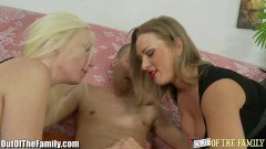 Superb MILF teaches her step daughter how to suck dick