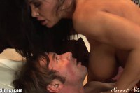 Dazzling brunette step mom riding her step son's cock