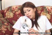 Horny Japanese chick toying and sucking
