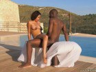 Ebony beauty pumped by the pool