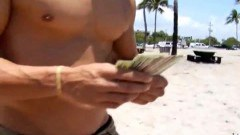 Volleyball players undressing for cash