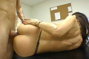 Sexy brunette MILF gets her ass fucked in class