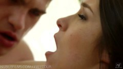 Majestic brunette takes a facial after some passionate pounding