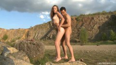Skinny chick fucked in nature