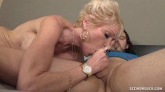 Aroused blonde mature gives head like a pro