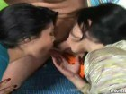 Two aroused Latina dolls sharing a dude's dick