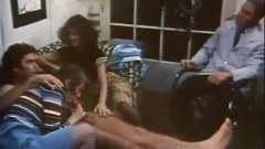 Hot vintage scene with two chicks sharing a dick and having anal