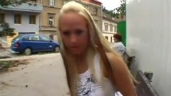 Sexy Czech blonde pussy fingered in public before sucking dick