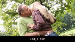 Lovely teen nailed by a old perv