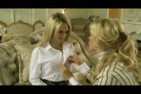 Two enticing blonde lesbos having sexual fun