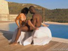 African couple fucking by outdoor pool