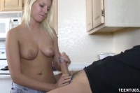 Awesome blonde amateur tugging a dick in the kitchen