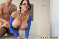 Gorgeous MILF with big boobs fucked and facialized